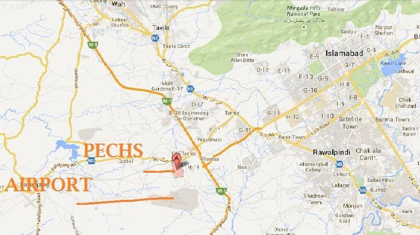 PECHS Islamabad access route map