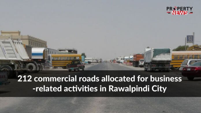 212 commercial roads allocated for business-related activities in Rawalpindi City
