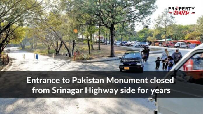 Entrance to Pakistan Monument closed from Srinagar Highway side for years