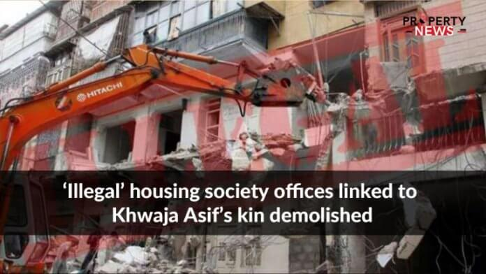 'Illegal' housing society offices linked to Khwaja Asif's kin demolished