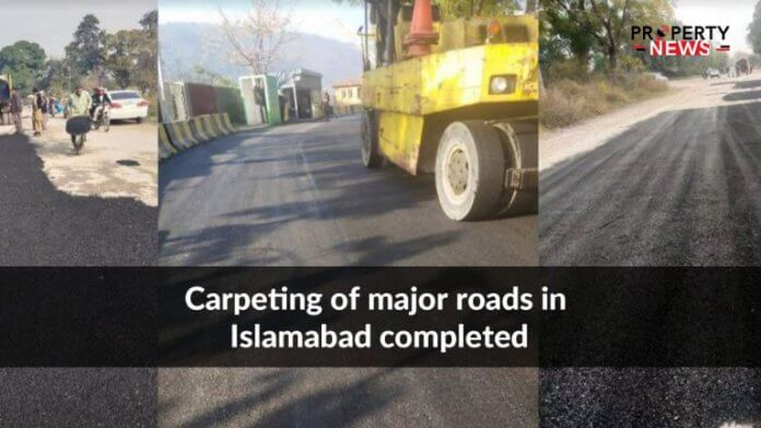 Carpeting of major roads in Islamabad completed