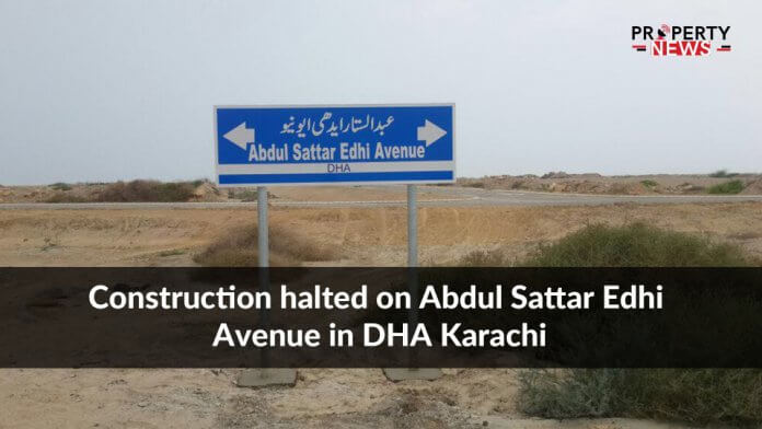 Construction halted on Abdul Sattar Edhi Avenue in DHA Karachi