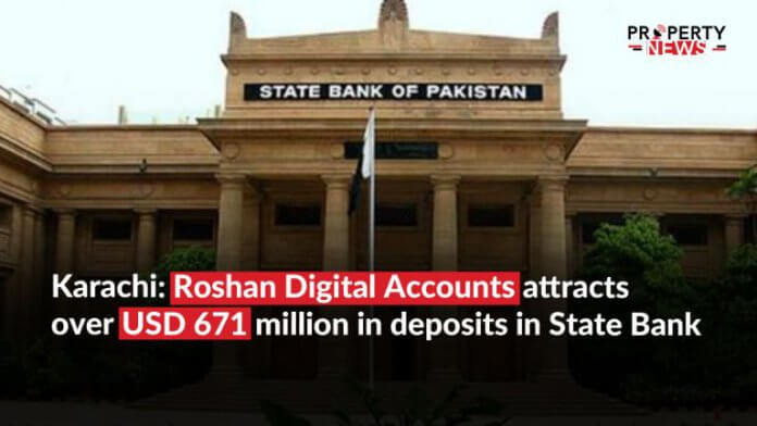 Karachi; Roshan Digital Accounts attracts over USD 671 million in deposits in State Bank