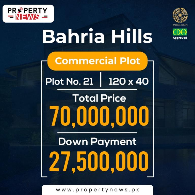 Bahria Hills Islamabad Payment Plan Commercial Plot no. 21