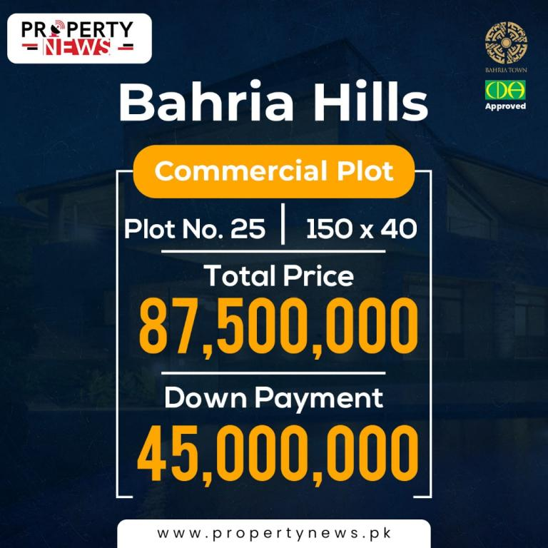 Bahria Hills Islamabad Payment Plan Commercial Plot no. 25